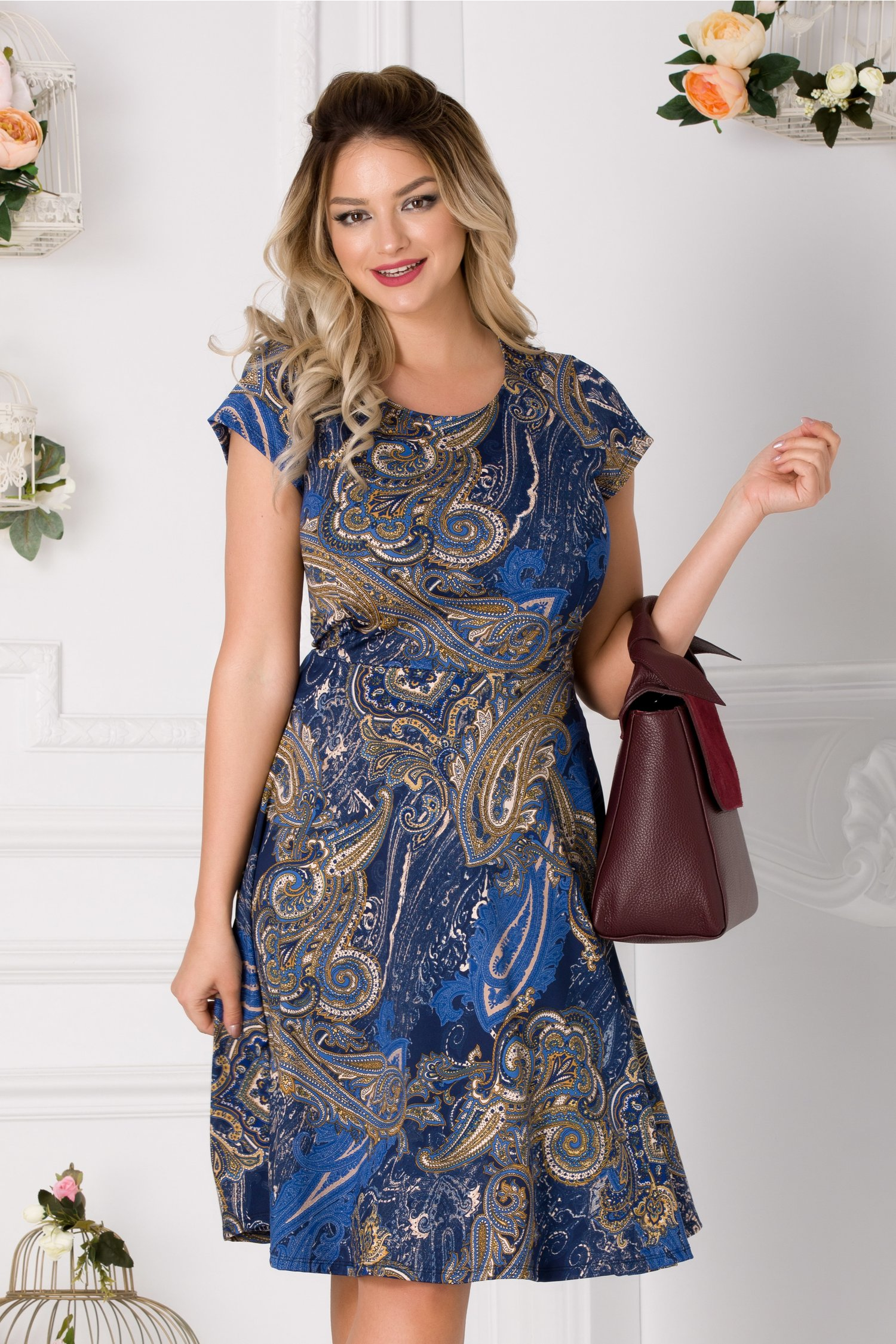 Rochie Gillian albastra cu imprimeu abstract