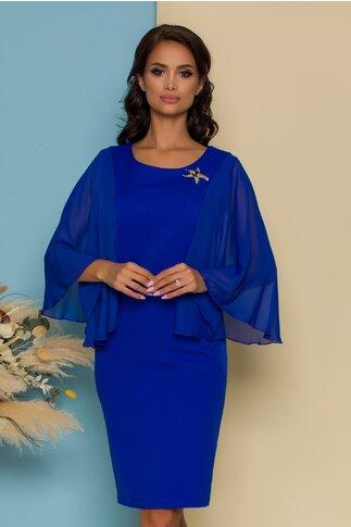 Rochie Gina albastra cu maneci vaporoase din voal