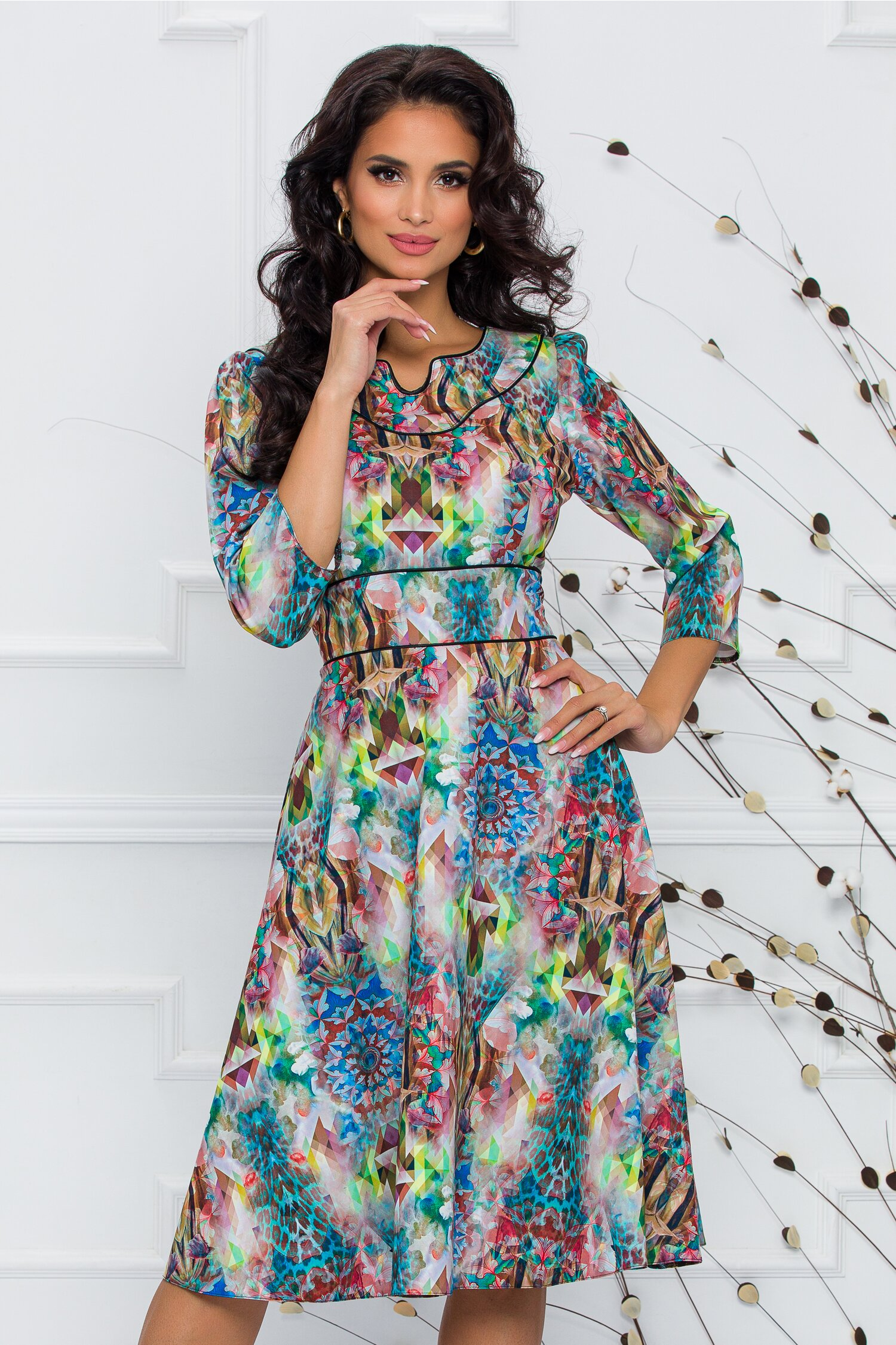 Rochie Gina cu imprimeu divers multicolor