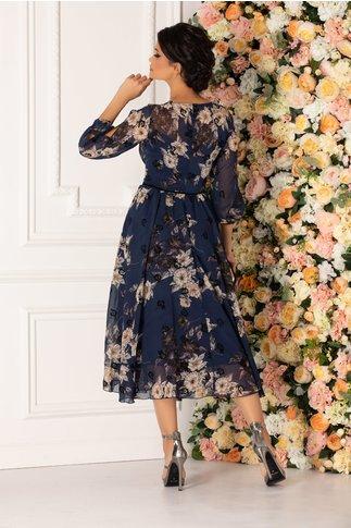 Rochie Ginette bleumarin cu imprimeu floral