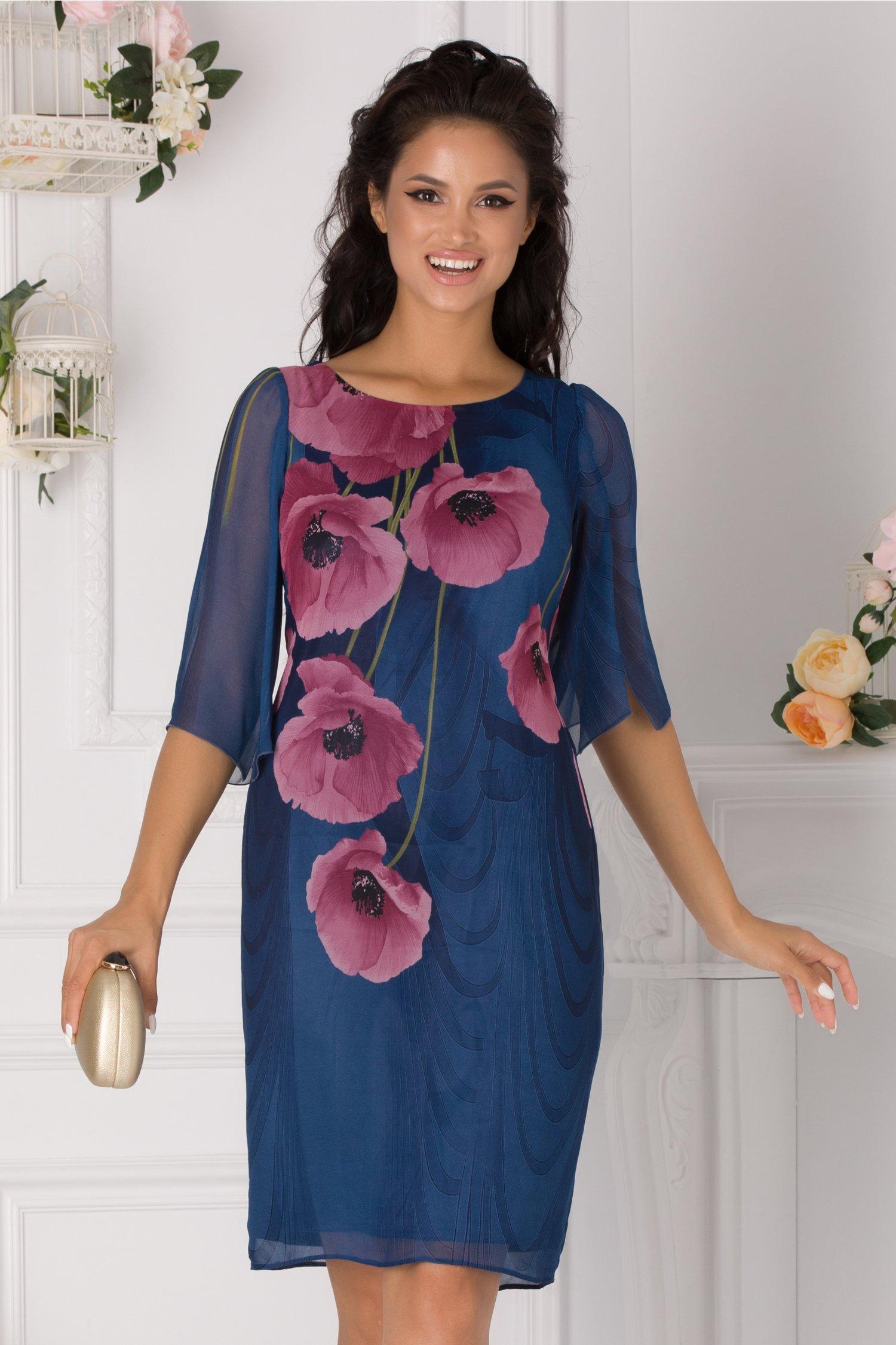 Rochie Ginette albastra cu imprimeu floral roz