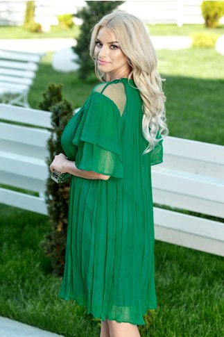 Rochie Ginette Aviva din matase naturala verde smarald