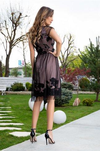 Rochie Ginette bej cu tull negru si broderie florala