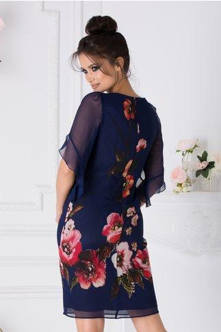 Rochie Ginette bleumarin cu imprimeu floral colorat