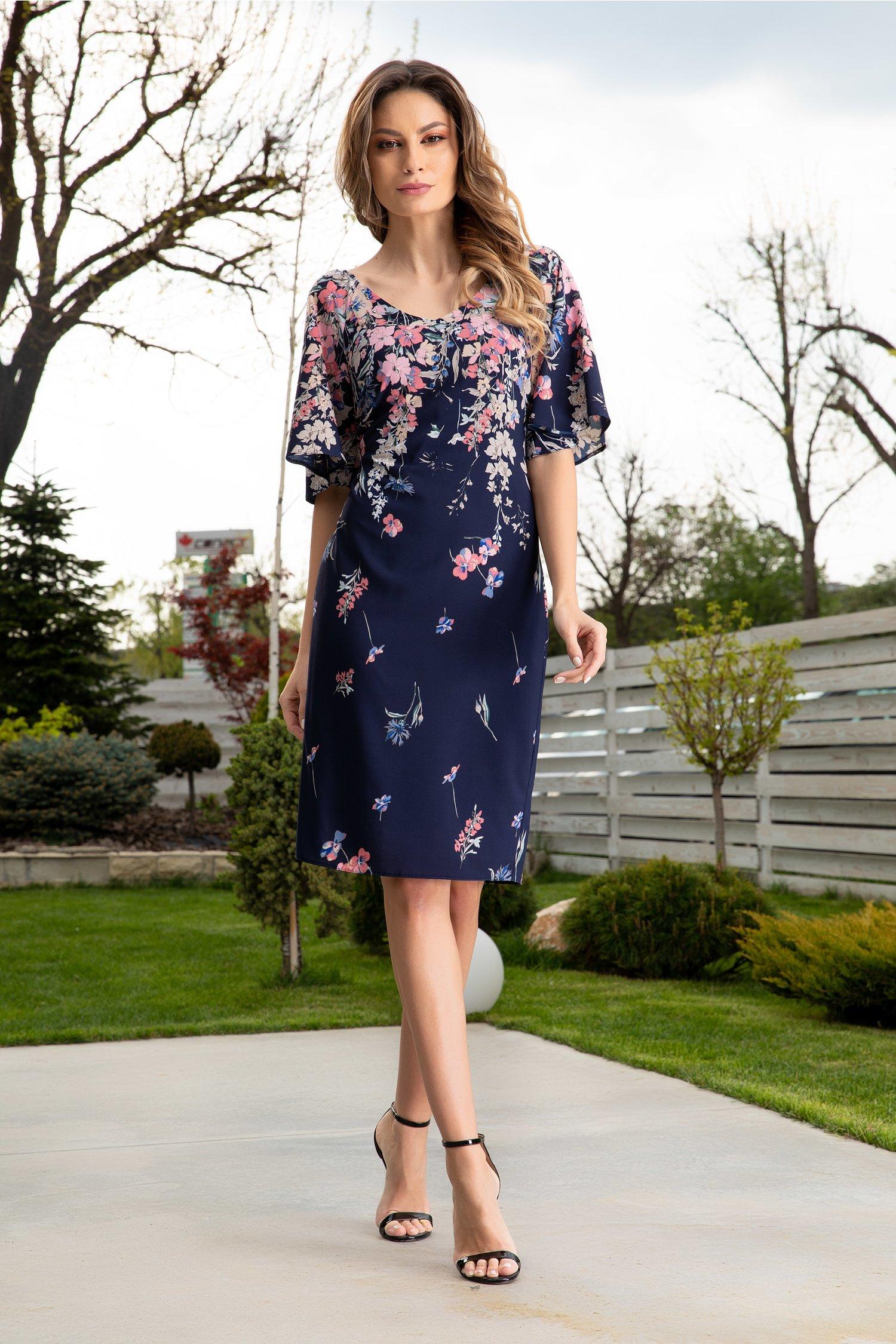 Rochie Ginette bleumarin cu imprimeu floral roz