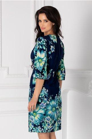 Rochie Ginette bleumarin cu imprimeu floral turcoaz