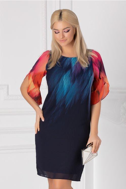 Rochie Ginette bleumarin cu imprimeu multicolor