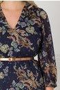 Rochie Ginette bleumarin cu lungime asimetrica si curea in talie