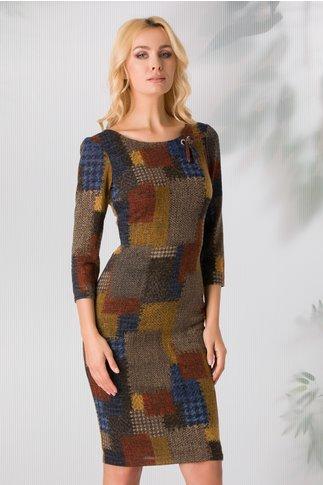 Rochie Ginette cu imprimeu in culori de toamna