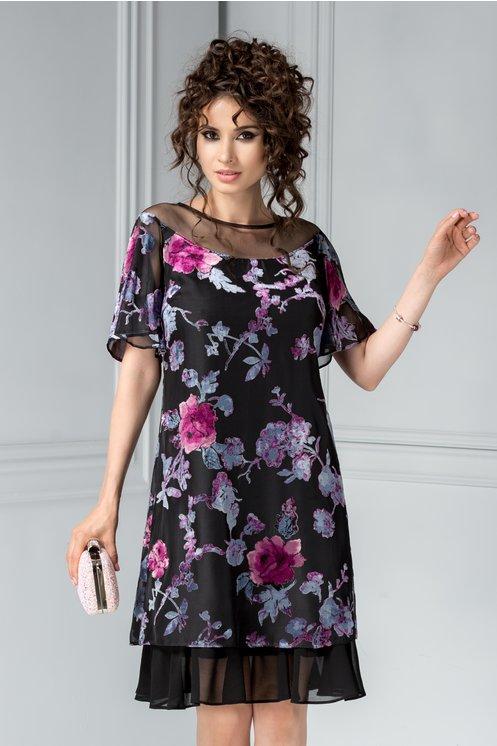 Rochie Ginette cu imprimeuri de catifea florala croi larg