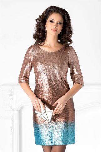 Rochie Ginette cu paiete rose gold in degrade