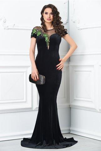 Rochie Ginette de lux neagra sirena cu broderie verde