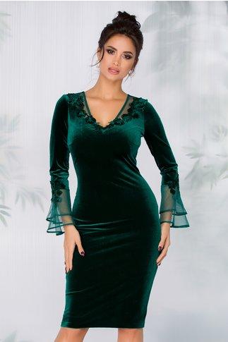Rochie Ginette din catifea verde cu maneci lungi tip clopot la baza