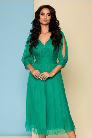 Rochie Ginette din matase verde cu maneci decupate si bustul tip corset