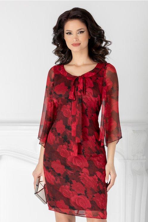 Rochie Ginette din voal cu imprimeu floral rosu