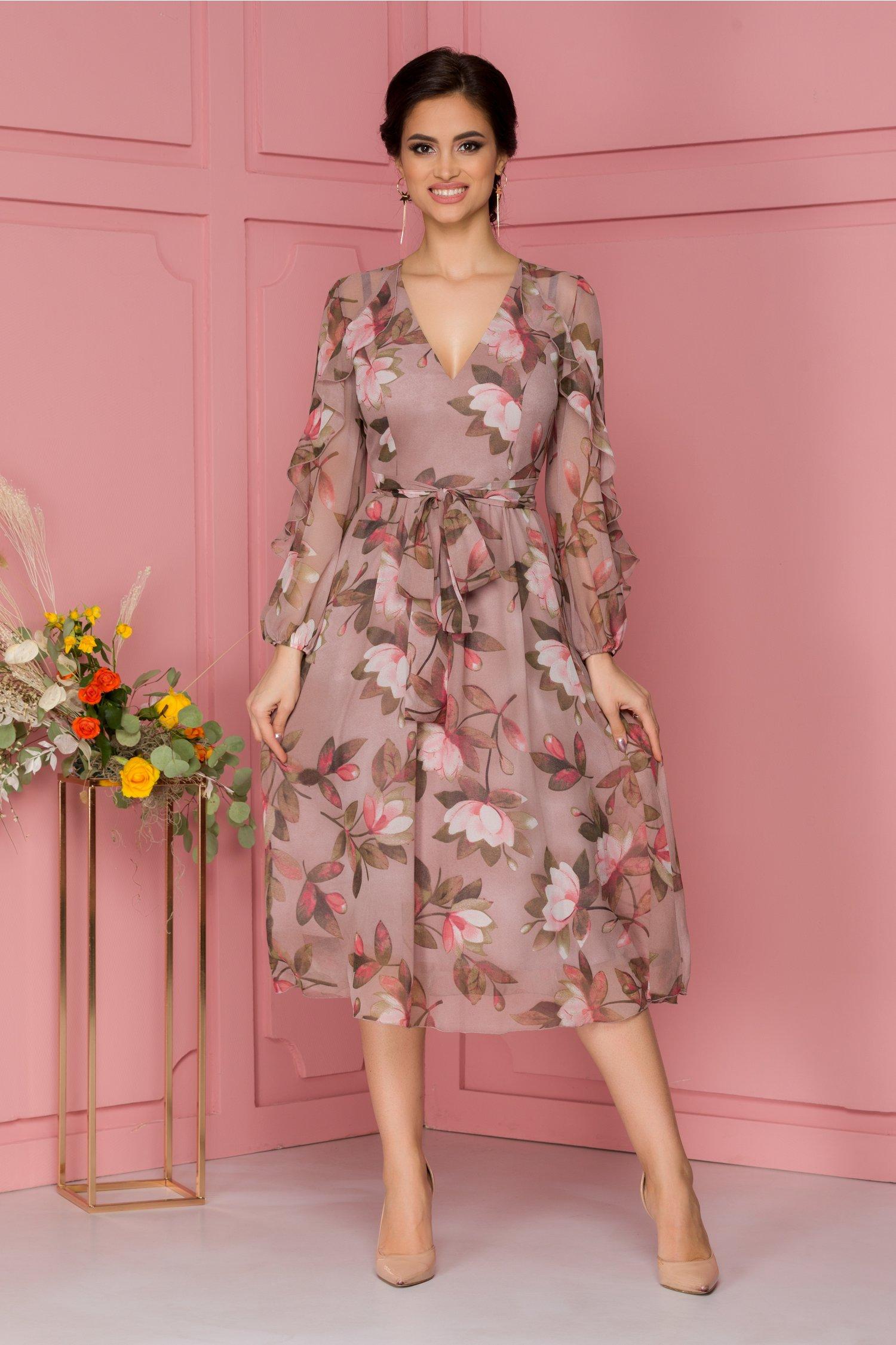 Rochie Ginette din voal roz prafuit cu imprimeu floral