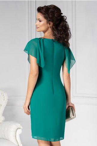 Rochie Ginette dreapta verde eleganta de ocazie