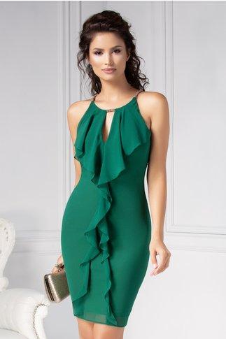 Rochie Ginette eleganta de ocazie verde cu volanase