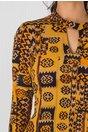 Rochie Ginette galben mustar cu imprimeu divers