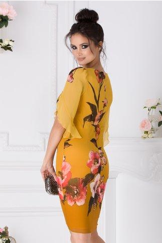 Rochie Ginette galben mustar cu imprimeu floral corai