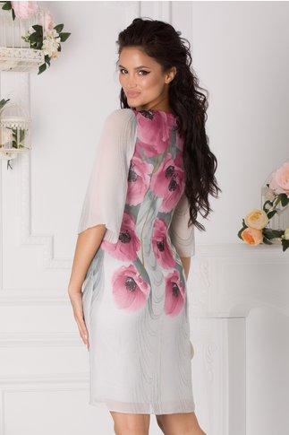 Rochie Ginette gri cu imprimeu floral roz