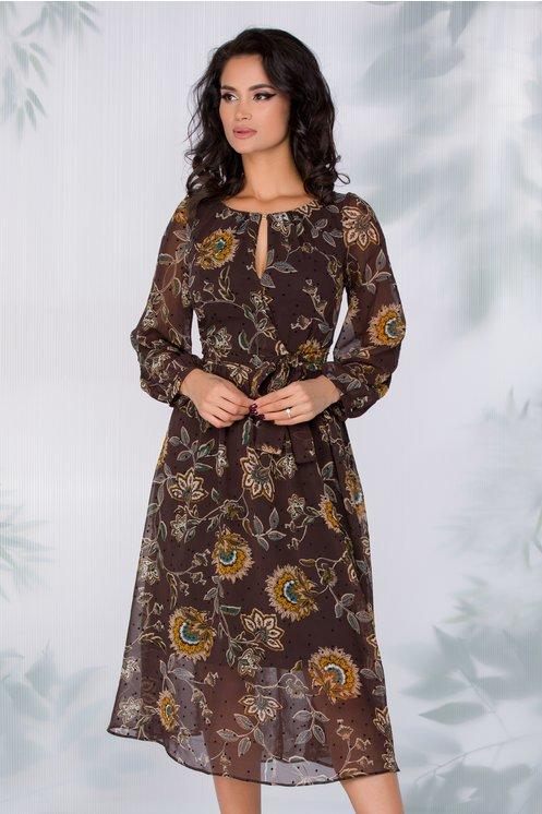 Rochie Ginette maro inchis cu imprimeu floral si buline negre catifelate