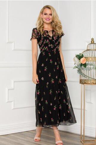 Rochie Ginette midi neagra cu imprimeuri florale rosii