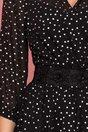 Rochie Ginette neagra cu buline argintii si cordon fals in talie