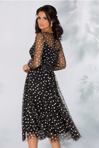 Rochie Ginette neagra cu buline din glitter auriu