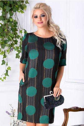 Rochie Ginette neagra cu buline mari verzi