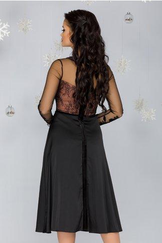 Rochie Ginette neagra cu bust nude acoperit de tull negru cu broderie