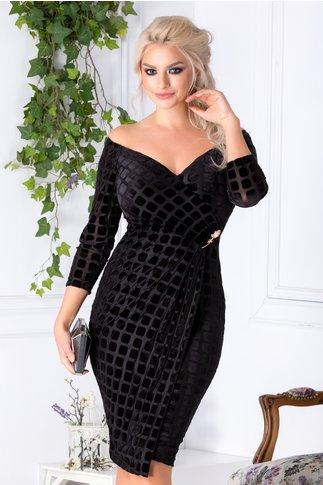 Rochie Ginette neagra cu catifea petrecuta