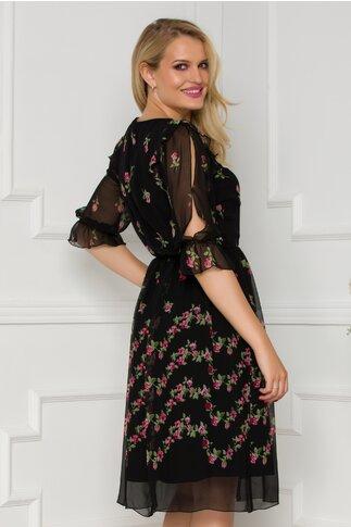 Rochie Ginette neagra din voal cu imprimeuri florale rosii