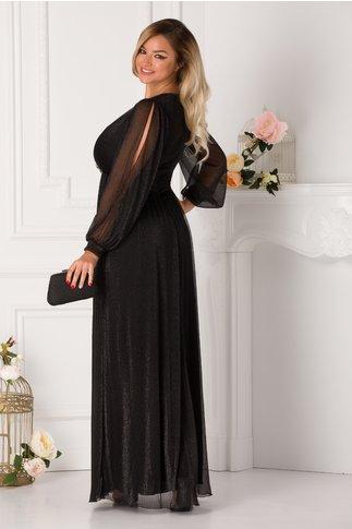 Rochie Ginette neagra lunga cu fir lurex cu reflexii argintii