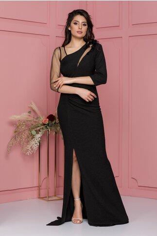Rochie Ginette neagra lunga din lurex cu flori 3D si tull cu glitter