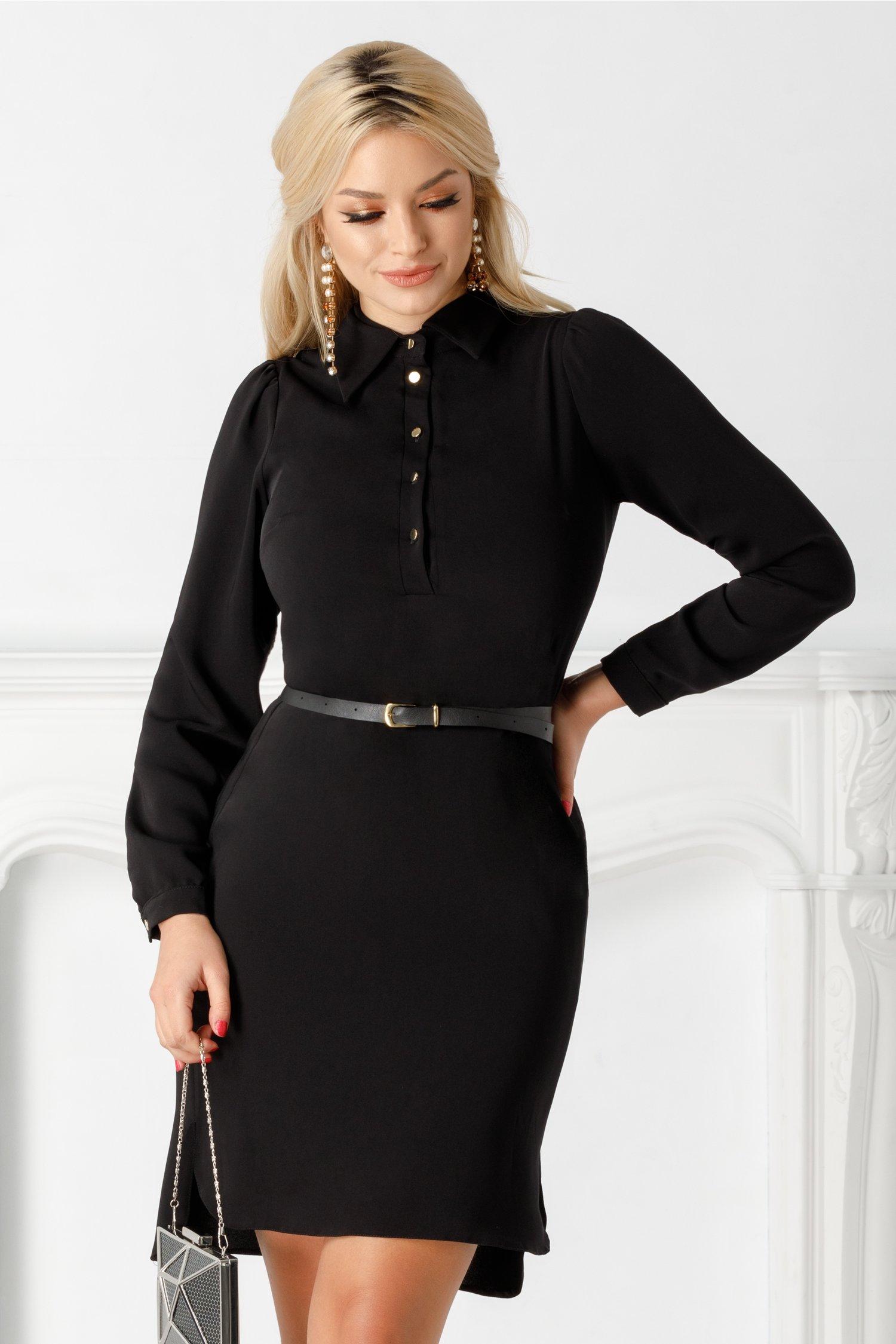 Rochie Ginette neagra tip camasa cu curea in talie