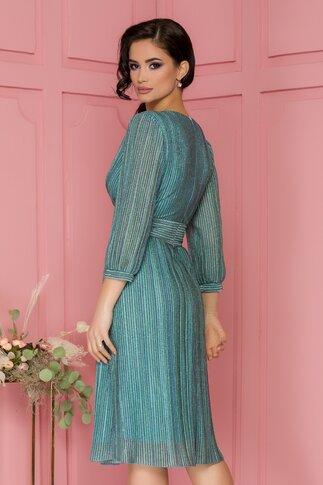 Rochie Ginette turcoaz din lurex cu dungi si textura plisata