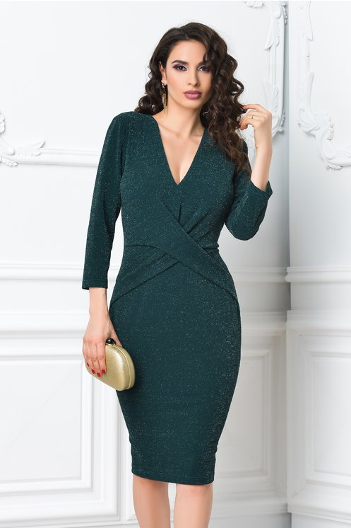 Rochie Ginette verde de ocazie midi eleganta