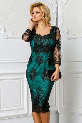 Rochie Ginette verde de seara cu broderie de lux