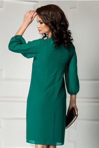 Rochie Ginette verde smarald cu brosa croi drept
