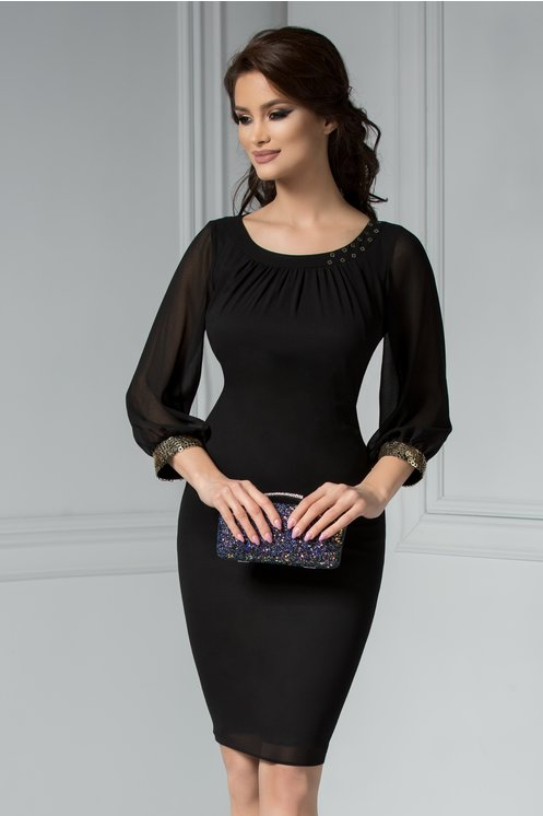 Rochie Ginette Whitney neagra eleganta cu paiete la maneci