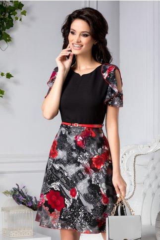 Rochie Giovanna negru si gri clos cu imprimeu rosu