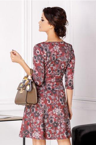 Rochie Giulia bordo cu imprimeu floral gri