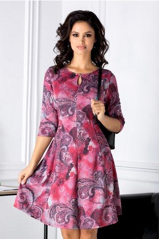 Rochie Giulia magenta cu imprimeu divers