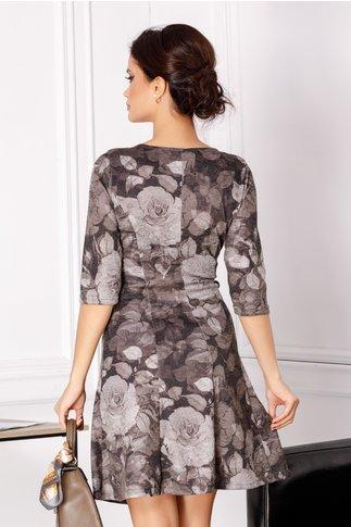 Rochie Giulia neagra cu imprimeu floral maro