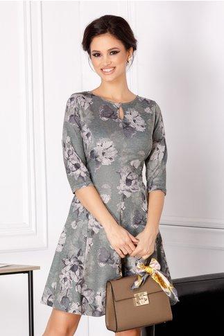 Rochie Giulia verde cu flori gri