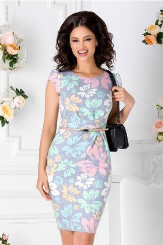 Rochie Gladis albastra cu imprimeu floral pastelat