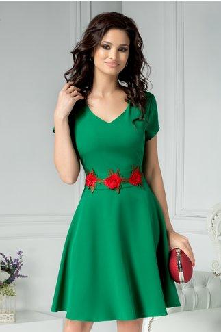 Rochie Gladys verde cu trandafiri in talie
