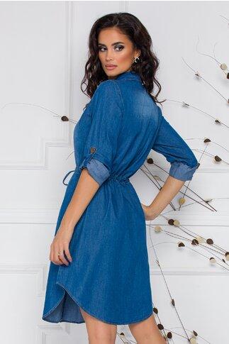 Rochie Glenda tip camasa albastra din denim