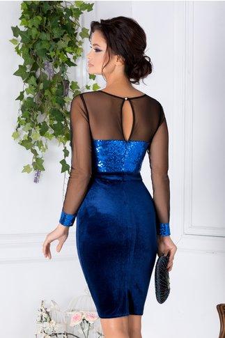 Rochie Glitter bleumarin cu paiete albastre